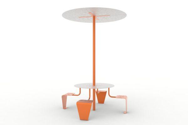Une table pique-nique abritée LUD orange
