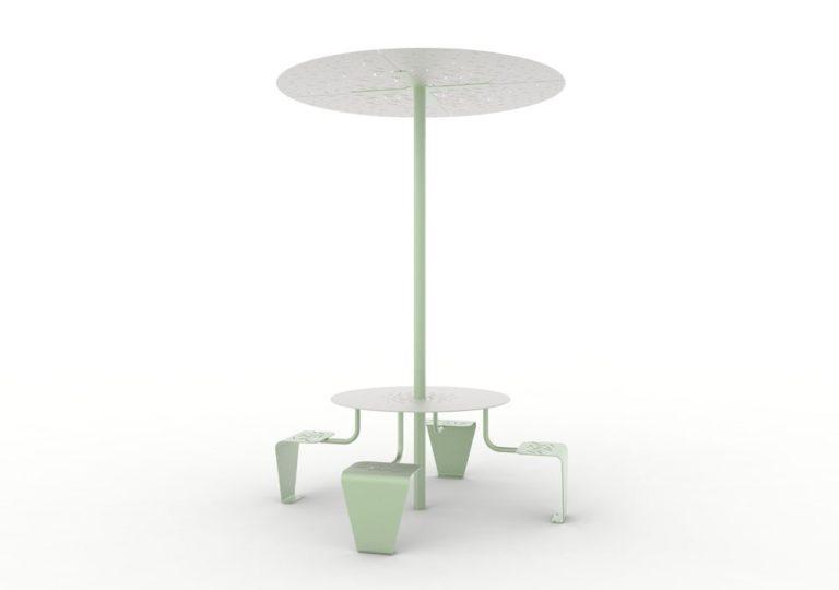 Une table pique-nique abritée LUD verte