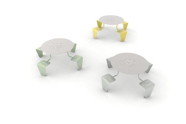 Trois tables pique-nique LUD : une verte, une grise et une jaune
