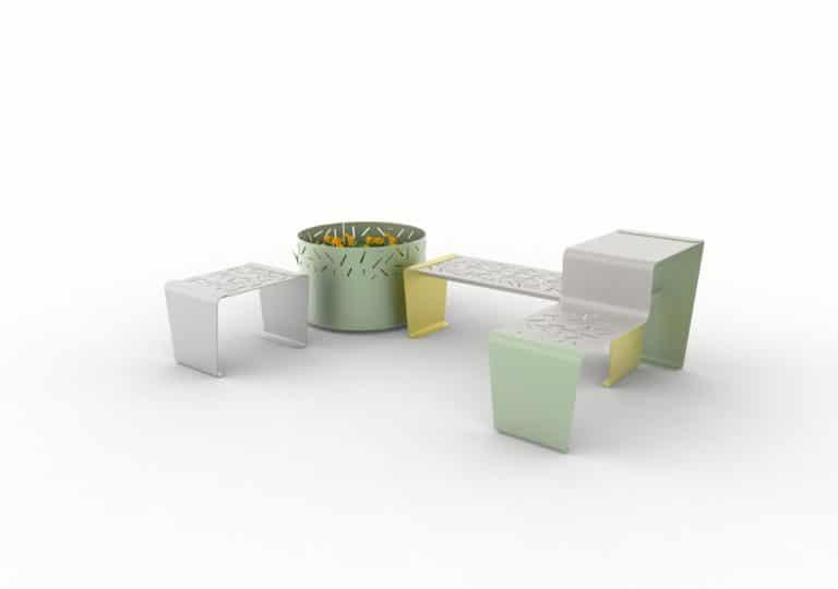 Un tabouret LUD gris, une jardinière LUD verte, une banquette LUD jaune et une table gigogne LUD vert