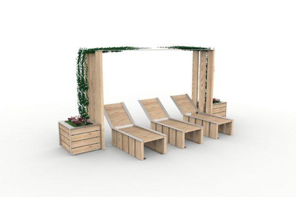 Trois transats NUT au dessous d'un portique treillage NUT avec des jardinières NUT remplies de plantes juxtaposées