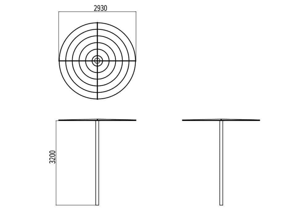 L'abri-treillage LUD mesure 3 200 mm de hauteur et 2 930 mm de largeur.