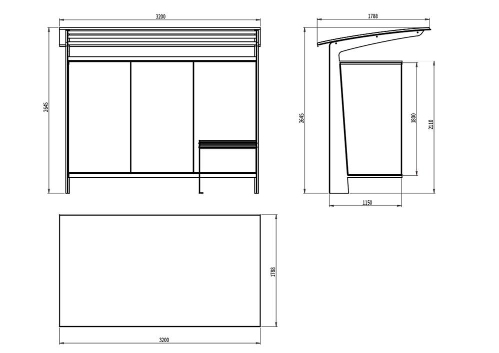 L'abribus TUB mesure 3 200 mm de longueur, 1 788 mm de largeur et 2 645 mm de hauteur