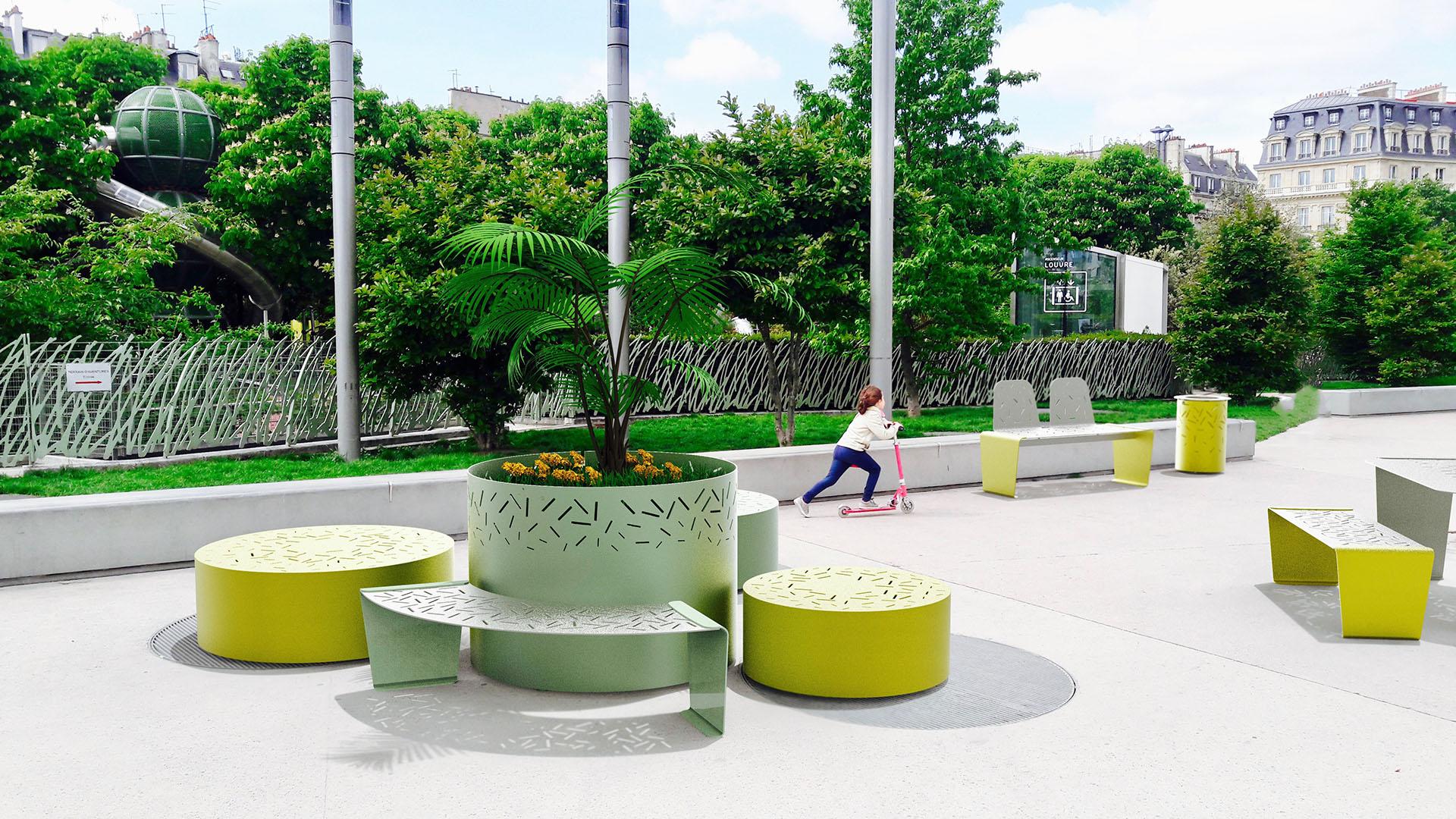 Mobilier urbain de la ligne LUD à Paris