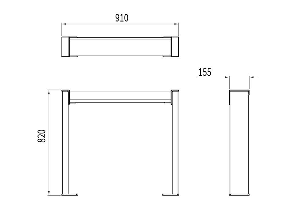 L'assis-debout NUT mesure 910 mm de longueur, 155 mm de largeur et 820 mm de hauteur.