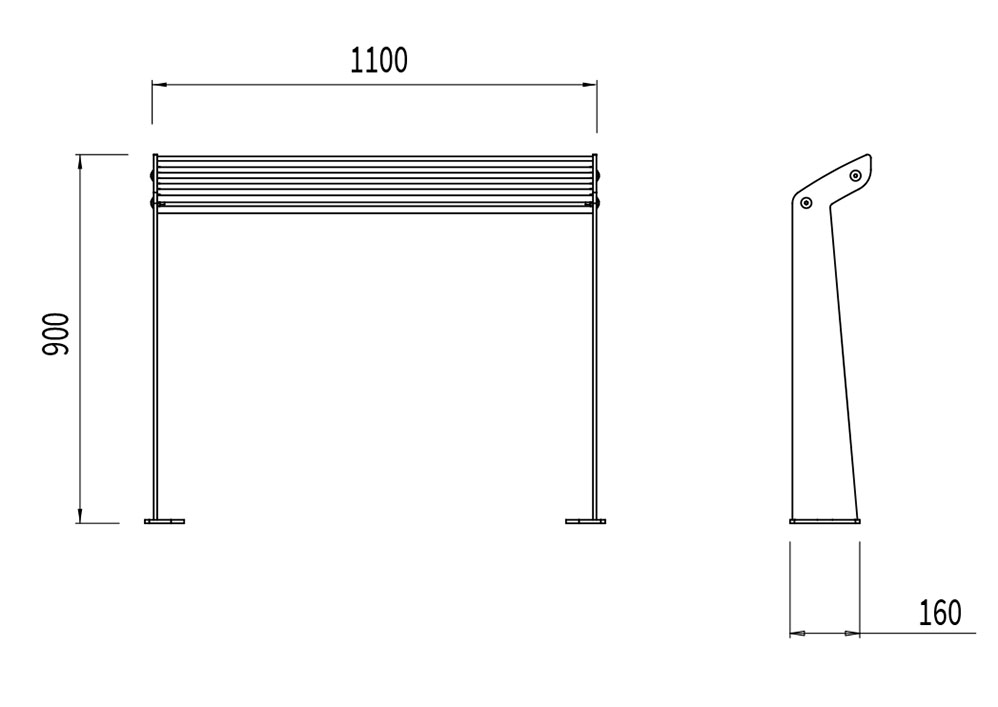 L'assis-debout TUB mesure 1 100 mm de longueur, 160 mm de largeur et 900 mm de hauteur.