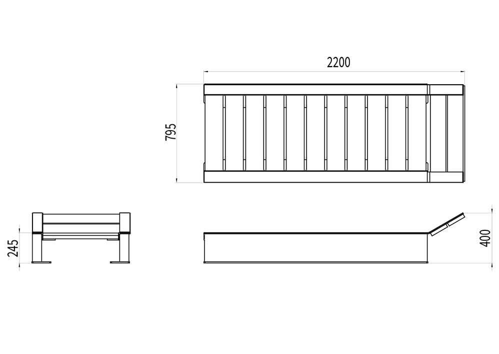 Le bain de soleil NUT mesure 2 200 mm de longueur, 795 mm de largeur et 245 à 400 mm de hauteur (assise et dossier).