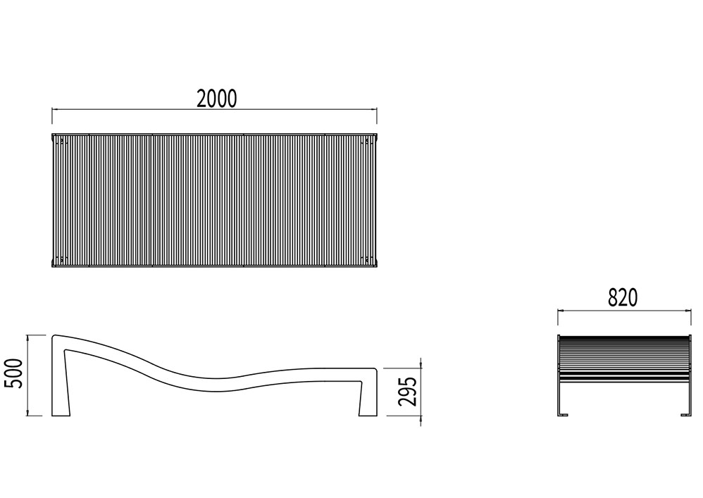 Le bain de soleil TUB mesure 2 000 mm de longueur, 820 mm de largeur et 295 à 500 mm de hauteur (assise et dossier).