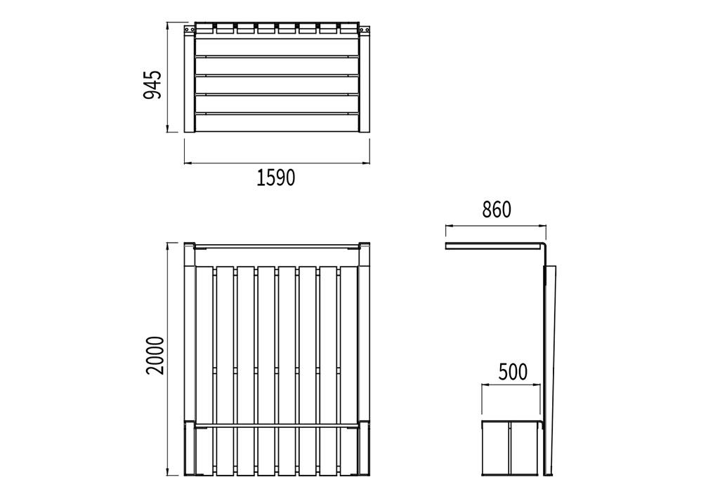 Le banc abrité NUT mesure 1 590 mm de longueur, 945 mm de largeur et 2 000 mm de hauteur.