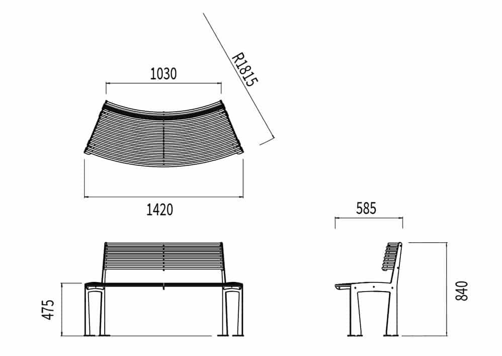 Le banc circulaire TUB mesure 1 030 à 1 420 mm de longueur (selon la courbure), 585 mm de largeur et 475 à 840 mm de hauteur (assise et dossier).