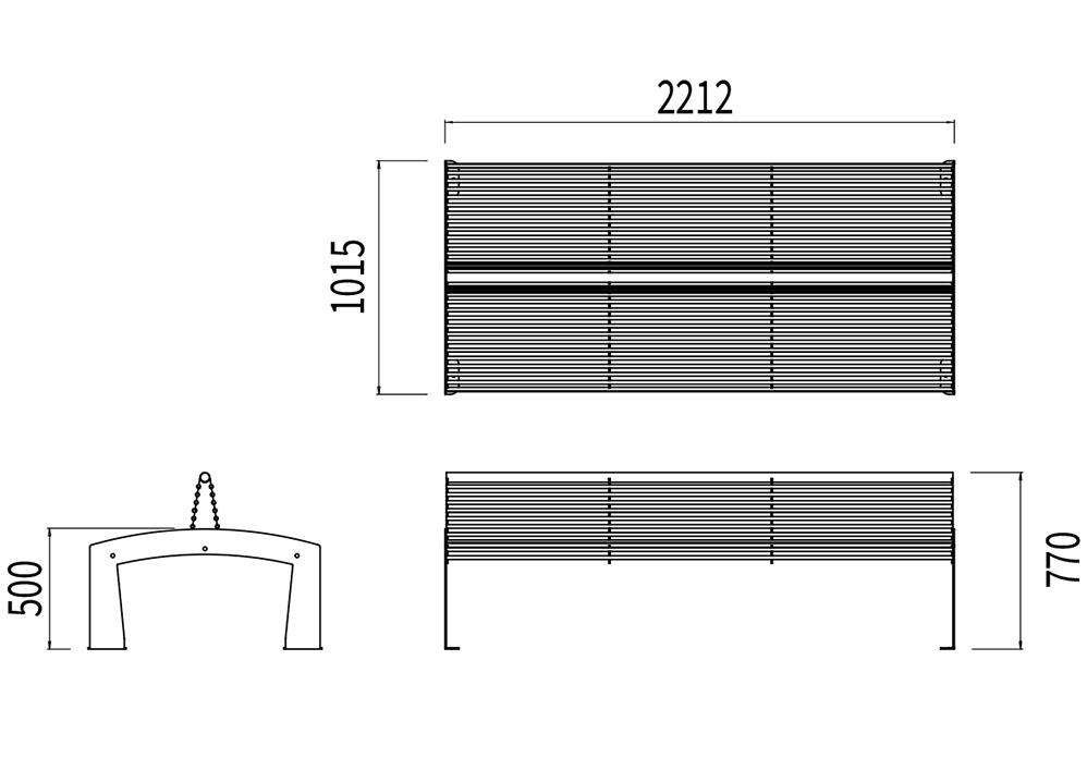 Le banc double-face TUB mesure 2 212 mm de longueur, 1 015 mm de largeur et 500 à 770 mm de hauteur (assise et dossier).