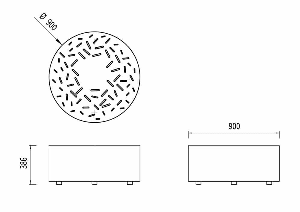 Le banc galet LUD mesure 900 mm de diamètre et 386 mm de hauteur.
