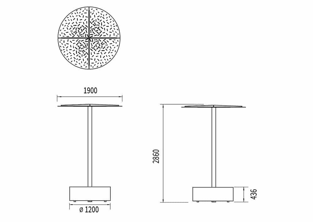Le banc abrité galet XL LUD mesure 1 200 mm de diamètre et 436 mm de hauteur. L'ombrelle mesure 1 900 mm de largeur et 2 860 mm de hauteur.