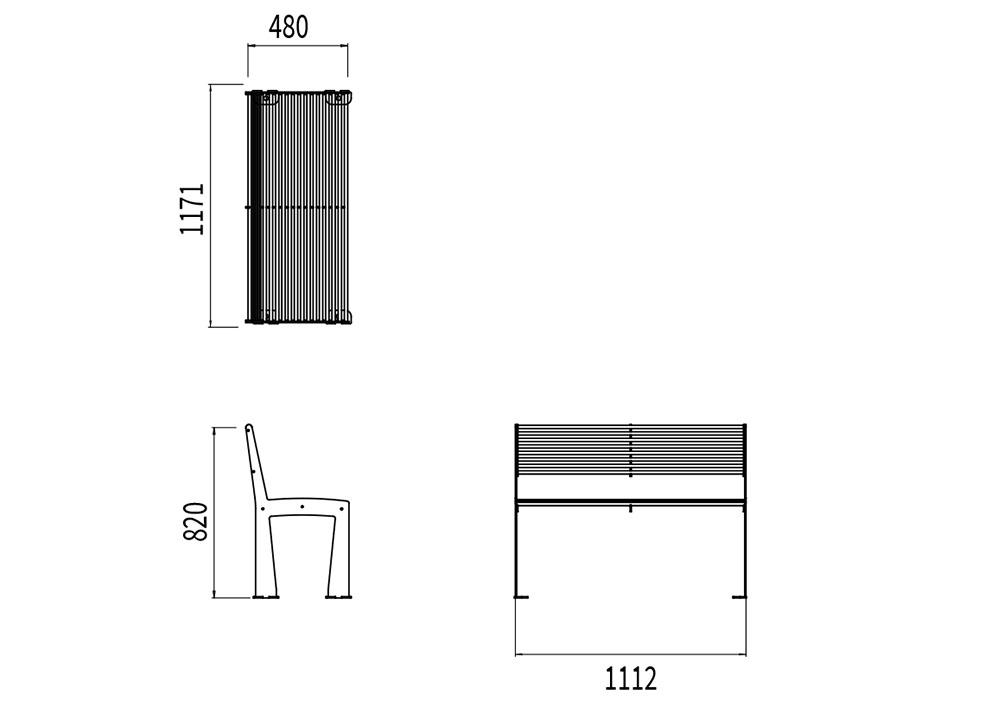Le banc TUB mesure 1 171 mm de longueur, 480 mm de largeur et 820 mm de hauteur.