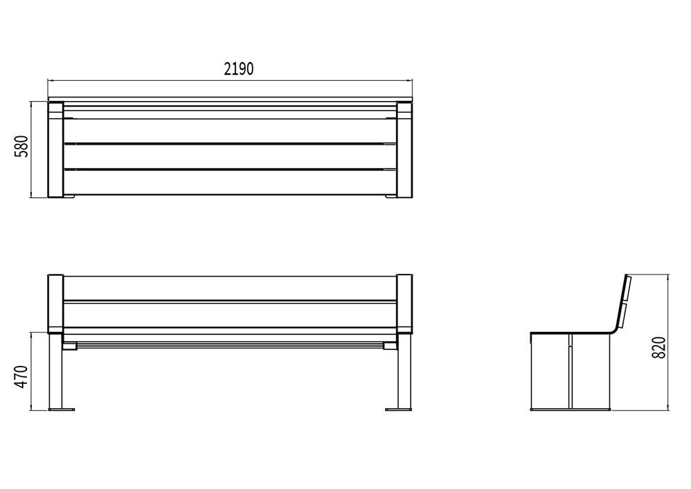 Le banc XL NUT mesure 2 190 mm de longueur, 580 mm de largeur et 470 à 820 mm de hauteur (assise et dossier).