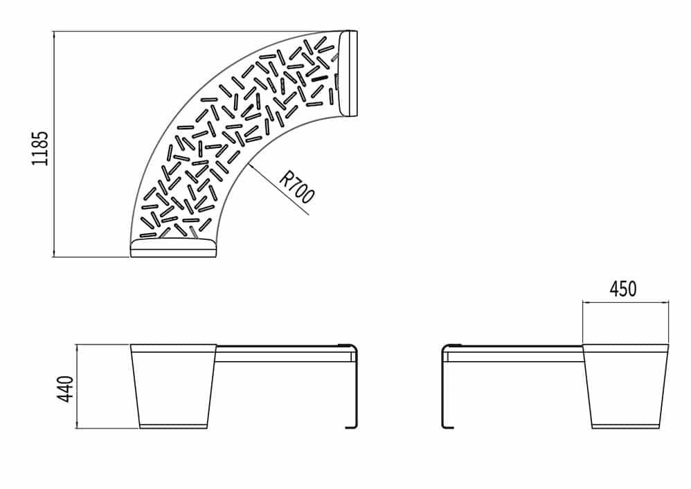 La banquette circulaire LUD mesure 1 185 mm de longueur et 440 à 450 mm de largeur. L'assise a un rayon de 700 mm.