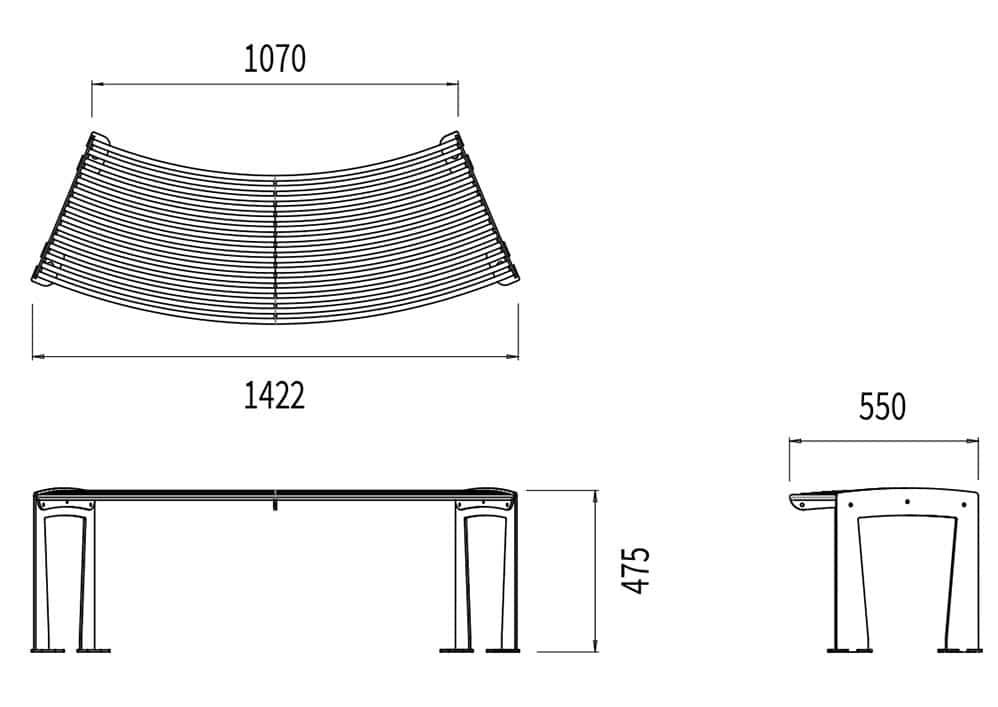La banquette circulaire TUB mesure 1 070 à 1 422 mm de longueur (selon la courbure), 550 mm de largeur et 475 mm de hauteur