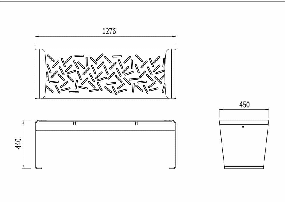 La banquette LUD mesure 1 276 mm de longueur, 450 mm de largeur et 440 mm de hauteur.