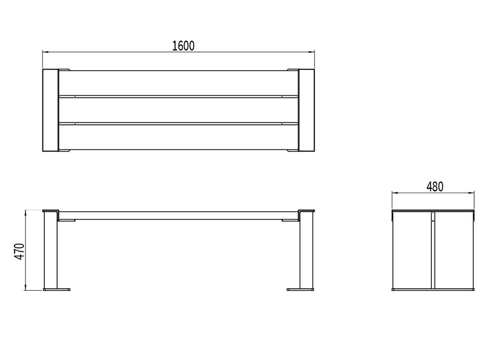 La banquette NUT mesure 1 600 mm de longueur, 480 mm de largeur et 470 mm de hauteur.