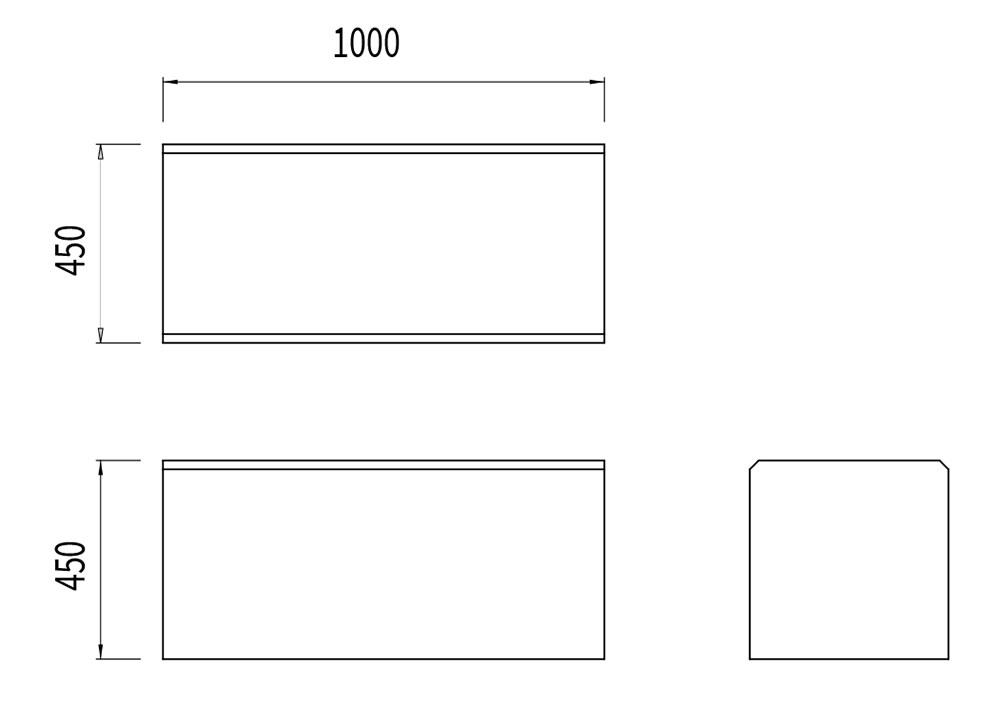 La banquette en pierre naturelle mesure 1 000 mm de longueur, 450 mm de largeur et 450 mm de hauteur