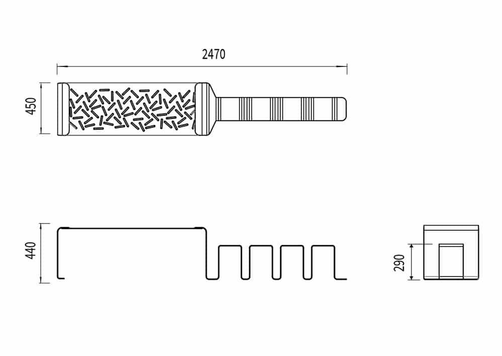 La banquette range-vélo LUD mesure 2 470 mm de longueur, 450 mm de largeur et 440 mm de hauteur.