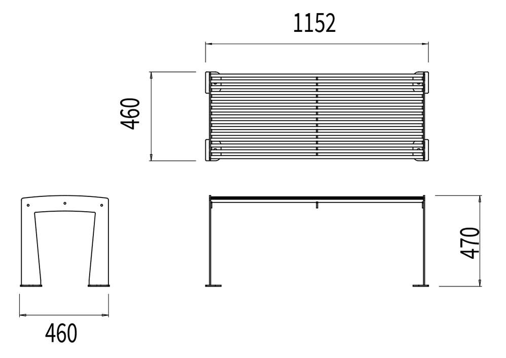 La banquette TUB mesure 1 152 mm de longueur, 460 mm de largeur et 470 mm de hauteur.