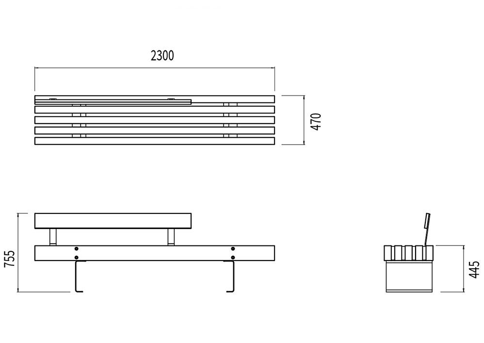 La banquette XL Catalogne mesure 2 300 mm de longueur, 480 mm de largeur et 445 à 755 mm de hauteur (assise et dossier).