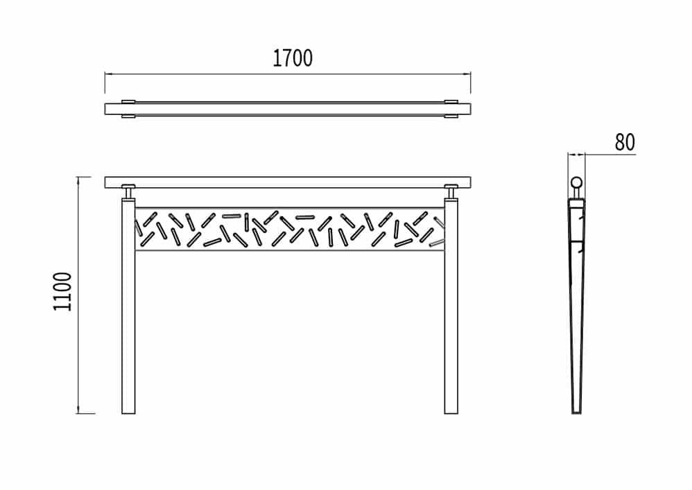 La barrière LUD mesure 1 700 mm de longueur, 80 mm de largeur et 1 100 mm de hauteur.