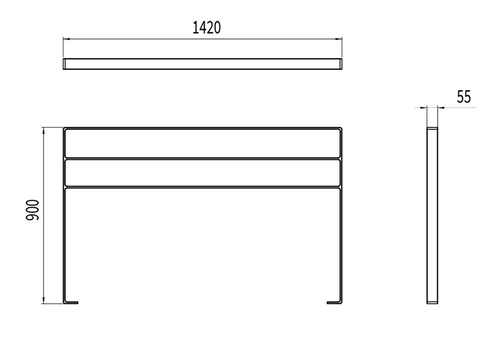 La barrière NUT mesure 1 420 mm de longueur, 55 mm de largeur et 900 mm de hauteur.