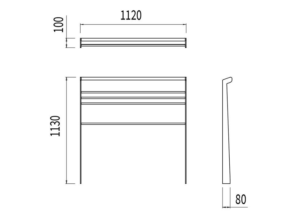 La barrière TUB mesure 1 120 mm de longueur, 80 à 100 mm de largeur et 1 130 mm de hauteur.