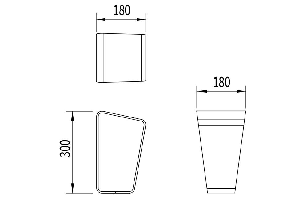 La borne LUD mesure 180 mm de longueur et de largeur, et 300 mm de hauteur.
