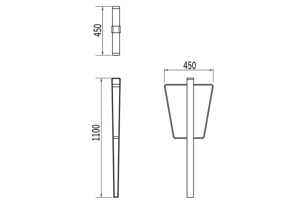 La borne à vélo LUD mesure 450 mm de largeur et 1 100 mm de hauteur.