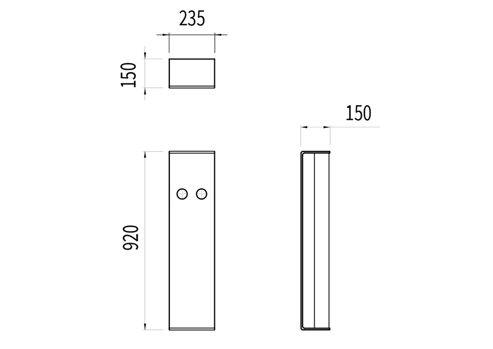La borne à vélo NUT mesure 235 mm de longueur, 150 mm de largeur et 920 mm de hauteur.