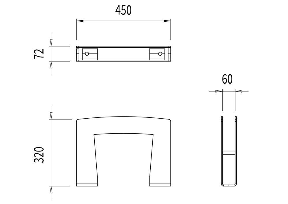 La borne à vélo TUB mesure 450 mm de longueur, 72 mm de largeur et 320 mm de hauteur.