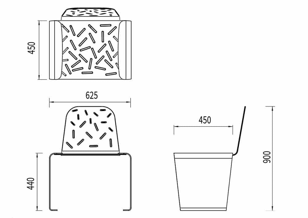 La chaise LUD mesure 625 mm de longueur, 450 mm de largeur et 440 mm de hauteur.