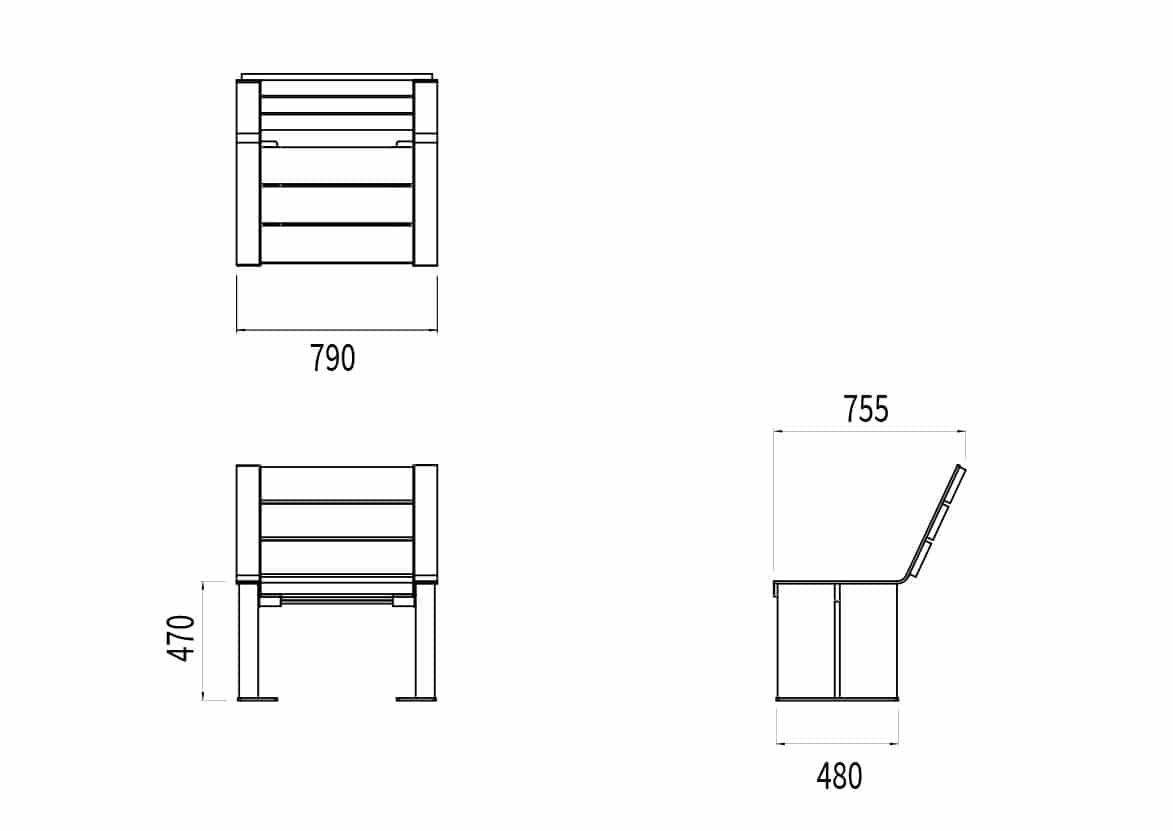 La chaise NUT mesure 790 de longueur, 480 à 755 mm de largeur (assise et dossier) et 470 mm de hauteur.