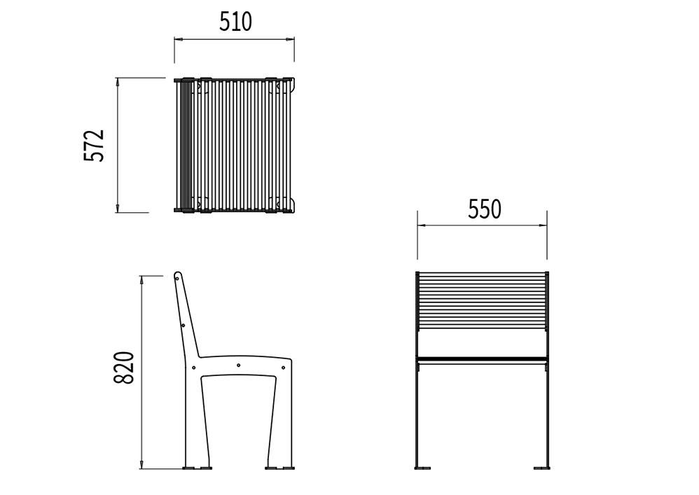 La chaise TUB mesure 572 mm de longueur, 510 mm de largeur et 820 mm de hauteur.