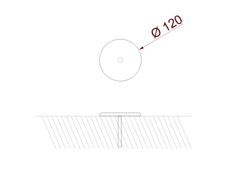 Le clou de jalonnement Icare mesure 120 millimètres de diamètre