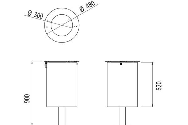 La corbeille Marina avec bac mesure 480 mm de diamètre et 900 mm de hauteur.