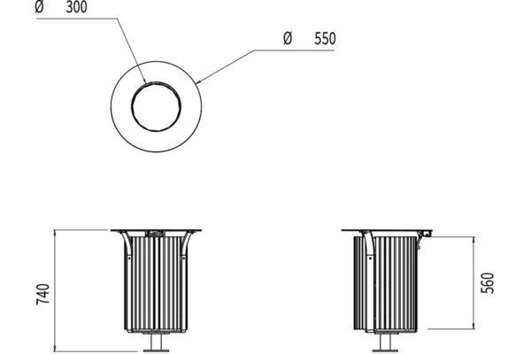 La corbeille Azilal en bois avec bac mesure 550 mm de diamètre et 740 mm de hauteur.