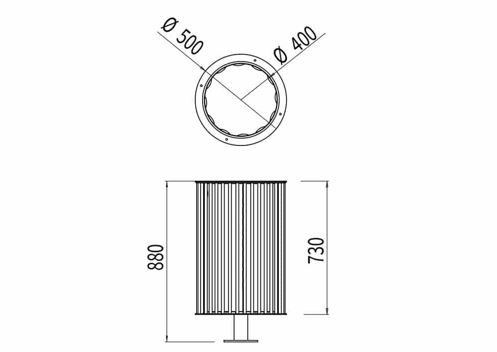 La corbeille cylindrique TUB mesure 880 mm de hauteur et a un diamètre de 500 mm.