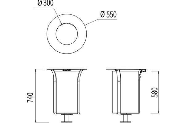 La corbeille Azilal métallique avec bac mesure 550 mm de diamètres et 740 mm de hauteur.