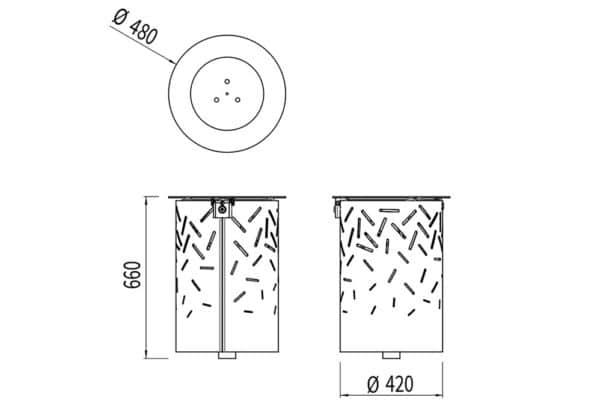 La corbeille avec sac LUD mesure 480 mm de diamètre et 660 mm de hauteur.