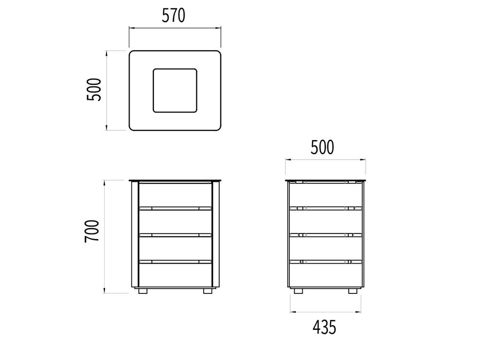 La corbeille avec sac NUT mesure 570 mm de longueur, 500 mm de largeur et 700 mm de hauteur.