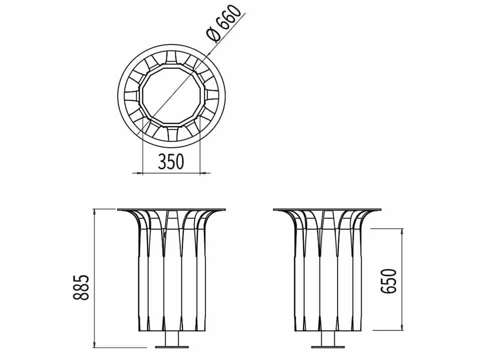 La corbeille Pétale avec sac mesure 660 mm de diamètre et 885 mm de hauteur.