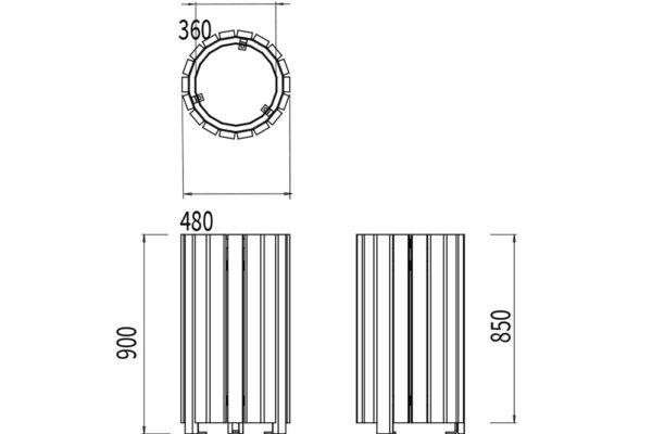 La corbeille Sindibad sans couvercle mesure 480 mm de largeur et 900 mm de hauteur.