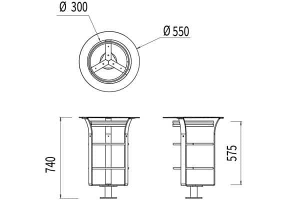 La corbeille Vigipirate Azilal mesure 550 mm de diamètre et 740 mm de hauteur.