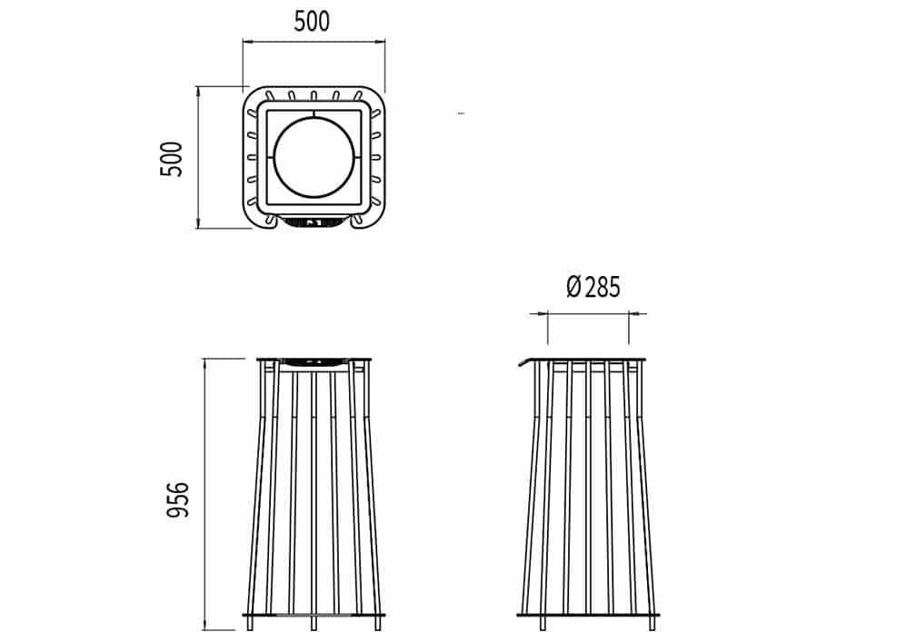 La corbeille Vigipirate carrée TUB mesure 500 mm de longueur, 500 mm de largeur, 959 mm de hauteur et a un diamètre de 285 mm pour le sac.