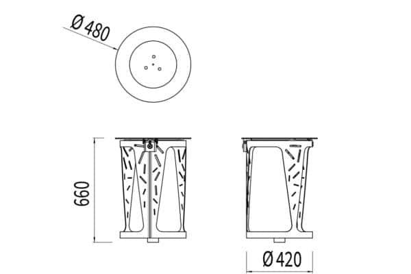 La corbeille Vigipirate LUD mesure 480 mm de diamètre et 660 mm de hauteur.
