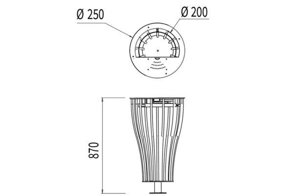 La corbeille Vigipirate vase cendrier mesure 870 mm de hauteur et a un rayon de 250 mm.